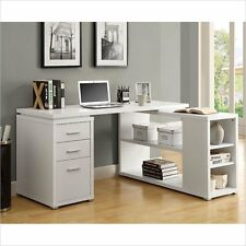 Computer Desk Home Office Furniture Workstation Table Monarch L Shaped in White