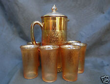 Rare 8 Piece Jeanette Marigold Carnival Glass Cider Pitcher Tumbler Set w'Lid