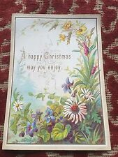 1870s  colourful christmas card -  very floral