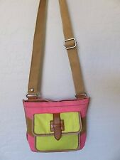 Fossil Cross Body Hipster Bag Pink Brown Yellow Stripe Canvas Handbag