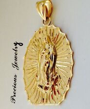 14K SOLID GOLD VIRGIN MARY LADY OF GUADALUPE CHARM PENDENT FREE SHIPPING.