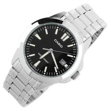 Casio MTP1215A-1A2 Men's Analog Black Watch Silver Steel Band New with Date