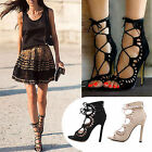New Womens High Heel Gladiator Stiletto Peep Toe Ankle Strappy Lace Up Sandals