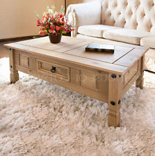Coffee Table Drawer Mexican Pine Corona Modern Wood Brown One Waxed Finish New