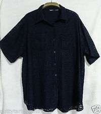 """Vintage Midnight Blue Long Length Lace Shirt  S/S Size XL Chest 52-54"""" EX COND"""