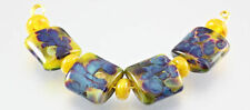4 Yellow Handmade Lampwork Glass Lentil Beads SRA
