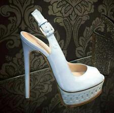 CASADEI NEW LEATHER WHITE SLINGBACK PLATFORM STILETTO HEELS 37 / 6.5 - 7 Easter