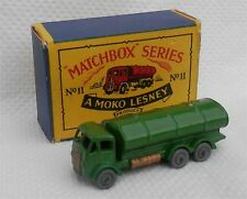 Rare.1950s.moko.Matchbox Lesney.11 a GREEN.metal wheel.Tanker.alm mint in box