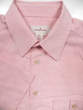 ERMENEGILDO ZEGNA MENS LARGE L CASUAL LUXURIOUS SHIRT PINK RAYON MADE IN ITALY