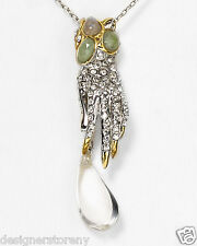 Alexis Bittar Lucite & Crystal Pave Crackle Studded Hand Pendant Necklace