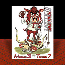 New ARKANSAS RAZORBACKS 2014 Texas Bowl POSTER ART, artist signed, hogs football