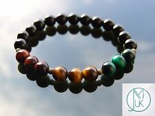 Rasta Mix Natural Gemstone Bracelet  7-8'' Elasticated Healing Stone Chakra