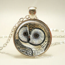 Handmade OWL Cabochon Tibetan silver Glass Chain Pendant Necklace !!!