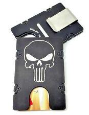 PUNISHER, Aluminum Wallet/Card Holder, RFID protection, black front pocket