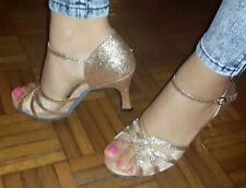 New Women Gold Glitter Latin Salsa Ballroom Dance Shoes High Heels Size 5-10