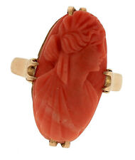 Ladies Antique 1920s 10K Yellow Gold Red Coral Carved Lady Cameo Portrait Ring