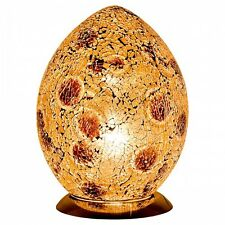 Fabulous Med Mosaic Glass Crackle Autumn Gold Egg Table Lamp  Bedside LM74GA