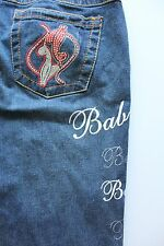 Women's BABY PHAT Embroidered Rhinestone Pocket Jean Bootcut Size 11