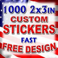 1000 2x3 Custom Printed Full Color Vinyl Sticker Product Label UV Coat Bulk Lot