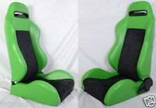 NEW 2 GREEN & BLACK RACING SEATS RECLINABLE W/ SLIDER ALL CHEVROLET *