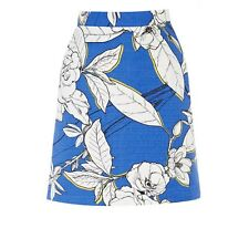 New Warehouse Blue White Floral Summer Flower A-Line Mini Skirt. Size 12 RRP £32