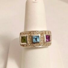 STERLING SILVER 2 CT MULTI - GEM RING. SIZE 7