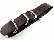 22mm Dark Brown Italy Genuine Leather Watch Strap Band Sports wristband ZULU new