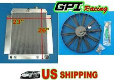 "Universal Aluminum Radiator Griffin Hot Rat Rod Ford Chevy Dodge 26""×23"" +fan"