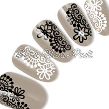 Nail Art Water Slide Transfers Decals Stickers Black & White Lace Flower S044