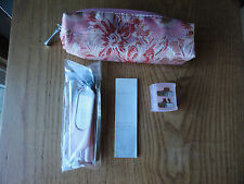 Mary Kay Pink Makeup Brushes in Floral Pink Fabric Bag NEW Beauty Fix Kit 7 pc
