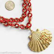 Chico's Signed Necklace Gold Tone Red Chain Bold Shell Pendant Long