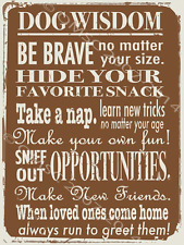 Dog Wisdom Metal Sign, Rules for Positive Living Poster, Rustic Den Office Decor