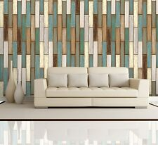 Vertical Retro Earthy Colored Wood Textured Paneling Pattern - Wall Mural- 66x96