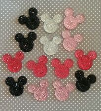 USA** 34mm Rhinestone Minnie Mickey Mouse 14 PIECES Flatback Resin Cabochons