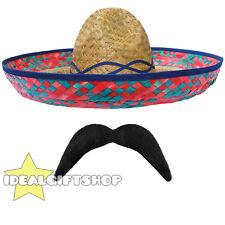 Señoras Mexicano Sombrero Hat + Tash Set Western vacaciones Fancy Dress Bandit Gallina
