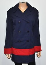 TOMMY HILFIGER Navy Blue Red Stripe Double Breasted Nautical Trench Coat - 1X