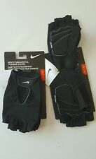 NIKE MENS HALF FINGER TRAINING GLOVES Black, White Swoosh Sz XL for Workout NEW