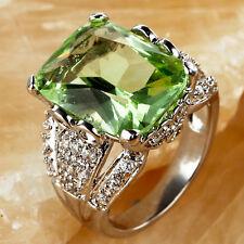 Elegant Emerald Cut Green Amethyst & White Topaz Gemstone Silver Ring Size 7
