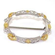 Sterling Silver Gold Vermeil Filigree Oval Pin Brooch