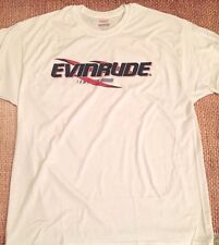 EVINRUDE Outboards WHITE T-SHIRT X-LARGE With Sticker Pair DECAL White Race Boat