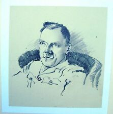 MILITARY PORTRAIT WWII RAOC OFFICER  IN CHAIR PENCIL ROBERT LYON C1941