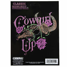 Cowgirl Up Classic Rosen Western Büffel Skull Chrom Aufkleber Decal Sticker NEU