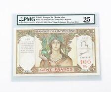 1963-65 Tahiti, Banque De L'Indochine 100 Francs Note PMG VF25 P.14d