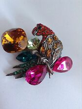 Vintage Wendy Gell Bold Jewel Tone Colors Crystal Parrot Bird Brooch 1980's