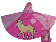 Bugzz Kids Girl Pony Heart Poncho Rain Coat Childrens / Childs Waterproof Mac