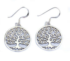 Cute! Solid Family Tree  .925 Sterling Silver Earrings