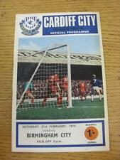21/02/1970 Cardiff City v Birmingham City  (Team Changes). Item in very good con