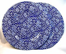 2 Churchill English Calico Chintz Cobalt Blue White Flower Dinner Plates