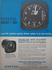 6/1967 PUB WESTON AIRCRAFT INSTRUMENTS MODEL 374 ALTIMETER ALTIMETRE ORIGINAL AD