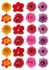 24 Mix of Pretty Flowers **FAB** Edible Cupcake Topper Decorations